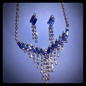 Jewelry - Elegant Blue Crystal Necklace and Earring Set